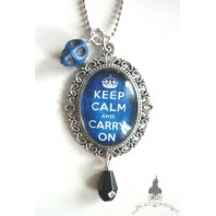 Navy Blue Keep Calm & Skull Necklace Tattoo Rockabilly Pin Up Crown