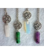 Pendulum & Pentacle Necklace Misty Day - Wicca - Several colors