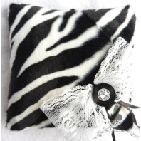 Music Wedding Ring Pillow - Rockabilly Zebra Rock Pin up Gothic Black & White