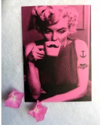 Carte Postale Rock & Love, Marilyn, Glam, Rockabilly, Pin up, Pink, Photographie, Art, Moustache, Tattoo, Voeux, Cadeau