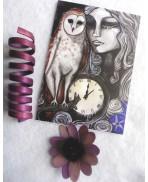 Carte Postale La Dame Blanche, Chouette, Effraie, Owl, Illustration, Art, Voeux, Mystique, Elfique, Gothique