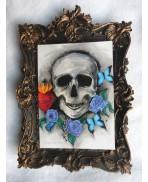 Carte Postale Memento Mori, Vanité, Tete de mort, Skull, Illustration, Art, Voeux, Gothique