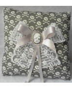 Grey White Skulls Wedding Rings Pillow - Grey, Gothic, Rock, Rockabilly, Wedding