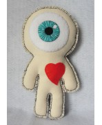 White Cyclops in Love Voodoo, Doll, Freak, Circus, Eyeball, Valentine, Oddities, Heart, Love, Curiosities, Mummy, Wedding