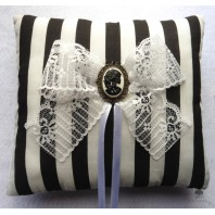 Dead Lady Stripes Wedding Rings Pillow, Gothic Wedding, Skull, Black and white, Muertos, Valentine, Victorian