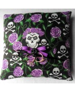 Purple Skulls & Roses Wedding Rings Pillow, Gothic Wedding, Rockabilly, Tattoo, Dias de los Muertos, Valentine