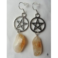 Yellow Citrine & Pentacle Earrings, Gothic, Wiccan, Elven, Celt, Quartz, Witchcraft, Witch, Boho, Gemstone, Fairy, Pagan Wedding