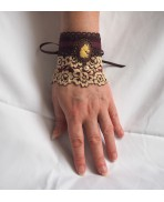 Bracelet Manchette Licorne Steampunk Marron, Elfique, Magie, Gothique, Victorien, Edwardien, Mariage steampunk, Shabby, Baroque