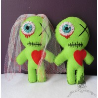 Married Zombie Voodoo Doll Couple Gift, Love, Day of the Dead, Valentine, Gothic Wedding, Groom, Bride, Art Doll, Mummy