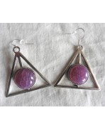 Triangle Providence Agate Pink Plum Earrings, Geometric, Minimalist, Pyramid, Gemstone, Esoteric, All-seeing Eye