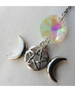 Small Triple Moon Pentacle Bookmark, Goddess, Lunar, Gothic, Book, Bookmark, Gift, Literature, Christmas, Magic