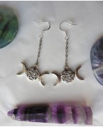 Triple Moon Pentacle Earrings, Goddess, Pagan, Lunar, Gothic, Wiccan, Spell, Witchcraft, Witch, Celestial Earrings