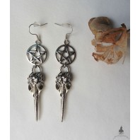 Occult Pentacle Raven Skull Earrings, Crow, Evil, Witch, Nevermore, Edgar Allan Poe, Goth, Wicca, Pagan, Witchcraft