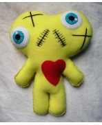 Yellow Conjoined Twins Mummy Voodoo Doll - Siamese, Circus, Freak, Freak Show, Love, Valentine, Wedding