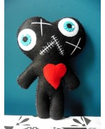 Black Conjoined Twins Mummy Voodoo Doll - Siamese, Circus, Freak, Freak Show, Love, Valentine, Wedding