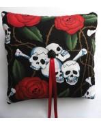 Black Skulls & Red Roses Wedding Rings Pillow, Gothic Wedding, Rockabilly, Tattoo, Dias de los Muertos, Valentine