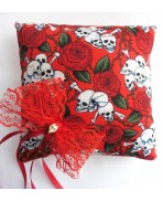 Red Skulls Roses Wedding Rings Pillow Gothic Wedding Rockabilly Tattoo Love