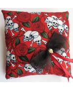 Red Black Skulls Roses Wedding Rings Pillow Gothic Wedding Rockabilly Tattoo Love