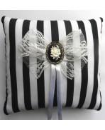 Blac White Stripes Rose Wedding Rings cushion pillow Gothic, Victorian, Baroque, Black wedding, Steampunk wedding, Shabby
