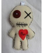 White Mini Love Mum the Mummy Poppet Voodoo Doll Keychain, Mom, Mother's Day, Halloween, Zombie