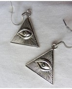 Triangle Eye of Providence Earrings, All seeing eye, Horus, Boho, Gothic, Occult, Esoteric, Witch, Gipsy, Illumati, Witchcraft