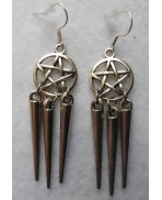 Trident Pentacle Earrings, Gothic, Wiccan, Mermaid, Evil, Esoteric, Pentagram, Pagan, Witchcraft, Hell, Spell, Witch, Siren