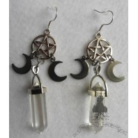 Triple Goddess Selene Pentacle Point Crystal Quartz Earrings, Moon, Magic, Esoteric, Mystical, Spell, Wicca, Witch, Pagan, Boho