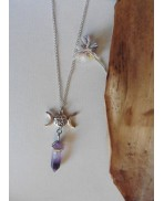 Luna Triple Moon Goddess Purple Fluorite Crystal Necklace, Wiccan, Pentacle, Esoteric, Witchcraft , Magic, Pagan Wedding