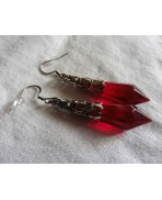 Occult Red Witch Crystal Point Pendulum Earrings, Gothic Wedding, Magic, Victorian, Pagan, Fairy, Wicca