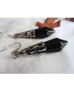 Occult Black Crystal Point Pendulum Earrings, Gothic Wedding, Magic, Pagan, Wicca witch, Evil