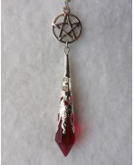 The Red Witch Pentacle Pendulum Necklace - Occult, Evil, Sabbath, Spell, Hell, Darkness, Wicca, Witch