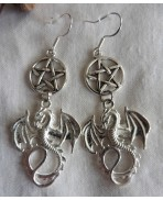 Silver Wiccan Dragon & Pentacle Earrings, Drogon, Gothic, Game of Thrones, Elven, Fantasy, Medieval, Magic, Witch