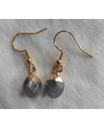 Labradorite Drop Earrings Golden steel, Minimalist, gold plated, Gemstone, Mystic, Boho Magic Reiki