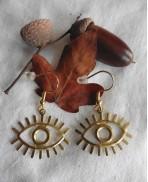 Lucky Evil Eye Talisman Golden Earrings, Minimalist, Mystical, Magic, protection amulet, Luck, lucky charm, Greek eye, symbol