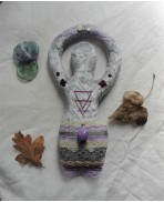 Gaïa Nature Great Mother Earth Water Triple Goddess Art Doll, Maternity Fertility, Pagan Altar, Purple, Moon, Wiccan Magic