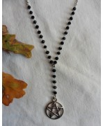 Choker Black Stainless steel short Rosary Pentacle necklace, Magic, Witch, boho jewelry, Pagan, Pentagram