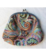 Large Bollywood Cashmere printed cotton retro clasp Purse, Coins, Coin purse, Money, Bag, Clutch, Pouch