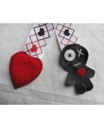 Voodoo Doll Heart Textile Bookmark, Valentine's Day, Book, Gift, Literature, Wedding, Love, Engagement, Bride and Groom