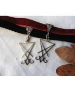 Black Burgundy red Sigil Seal of Lucifer Velvet Choker necklace, Magic, Witch, Satanic, Baphomet, Evil