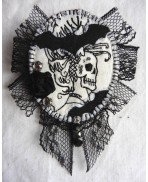 Black White The Bat Woman Textile Art Brooch, Vampire, Bathory, Baroque, Witch, Dracula, Gothic, Vampiric
