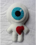 White Cyclops in Love Voodoo, Doll, Freak, Circus, Eyeball, Valentine, Oddities, Heart, Love, Curiosities, Mummy, Wedding