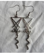 Lucifer Snake Sigil Seal Earrings, Satan, Devil, Serpent, Reptile, Occult, Satanic, Witch