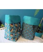 Set of 2 Baskets Textile basket Storage Bag Wax fabric Art Deco Blue Mustard Palm Palmette