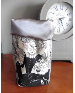 Grey Gothic Boudoir The Severe Sisters Textile Basket Storage Bag, Baroque, Shabby Chic, Pink