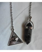 Larvikite Crystal Point and Third Eye Divination Pendulum, Dowsing, Stone Lithotherapy, Witch, Magic, wicca, Reiki, Witchcraft