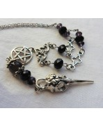 Black Purple Gothic Rosary Raven Skull Funeral Messenger Necklace, Crow, Edgar Poe, inverted pentacle, Amethyst, Witch, Satanic