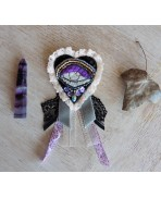 Sacred Heart Eye Brooch Ex-Voto Baroque Embroidered Textile Art, Purple, Shabby, Beads Velvet Embroidery, Witch, Evil eye