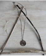 Hecate's Wheel Strophalos Necklace, Spiral Symbol, Triple Moon Goddess, Witch, Pagan choker, Gothic, Wiccan