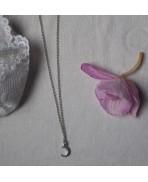 Dainty Minimalist Silver Crescent Moon Necklace, Lunar Choker, Celestial, Winter Wedding, Triple Moon Goddess, Elven, Bridesmaid